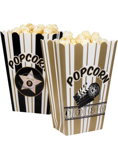 4 caixinhas para pipocas festa do cinema - Hollywood Party