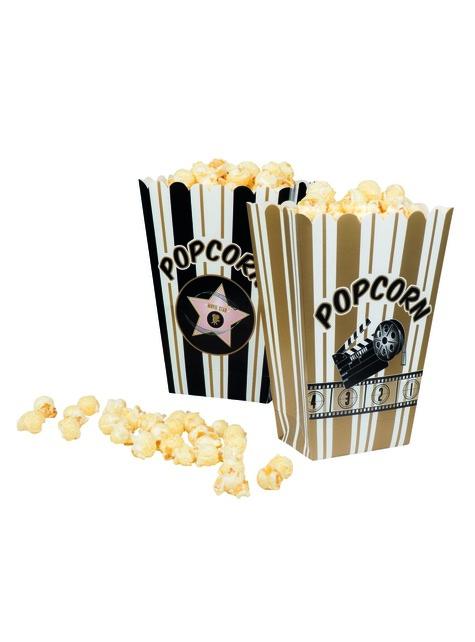 4 boîtes à Popcorn fête du ciné - Hollywood Party - pour vos fêtes