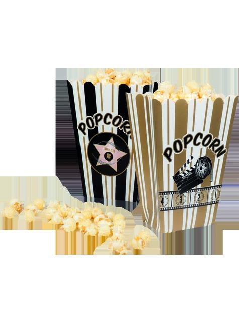 4 boîtes à Popcorn fête du ciné - Hollywood Party - pas cher