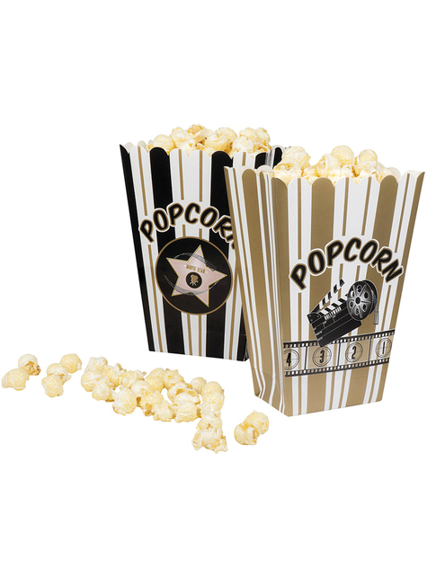 4 contenitori per pop corn maratonata del cinema - Hollywood Party - comprare