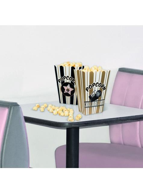 4 boîtes à Popcorn fête du ciné - Hollywood Party - pour enfants et adultes