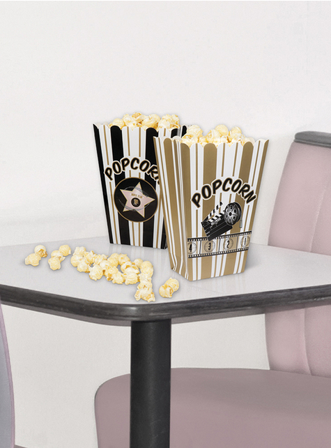 4 popcornæsker filmfest - Hollywood Party - til dine festdekorationer