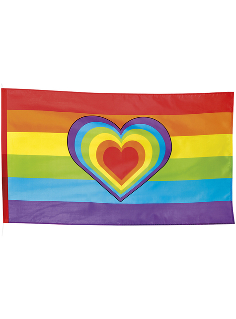 Bandera de arcoíris y corazón