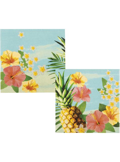 12 serviettes avec fleurs et ananas (33x33 cm) - Paradise Collection