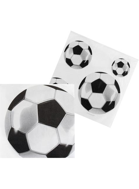 12 serviettes avec ballons football (33x33 cm)
