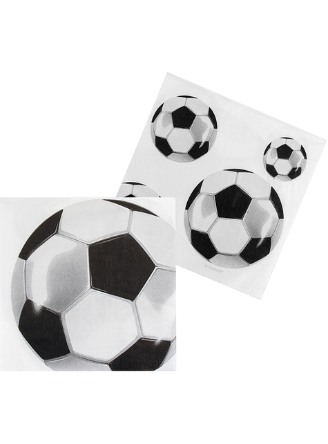 12 Serviettes en papier avec ballons football (33x33 cm)
