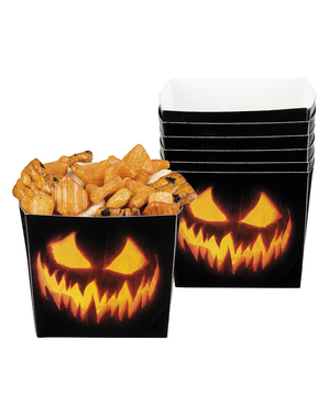 Little boxes of evil pumpkins for appetizers