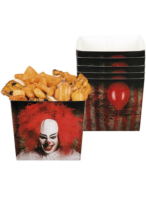 6 Horrorclown Schachteln für Snacks