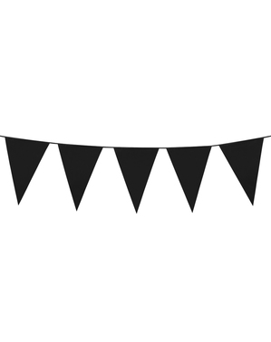 Grinalda de bandeirolas pretas (10 m)