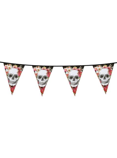 Guirnalda de banderines con esqueletos y flores
