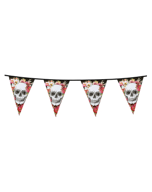 Bunting garland with skeletons and flowers