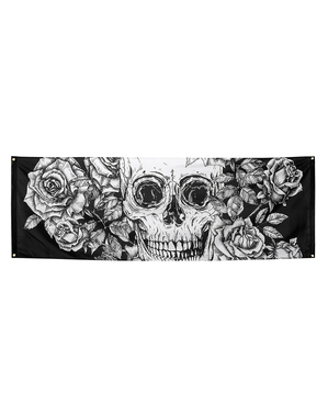 Banner of a skeleton in white and black with flowers