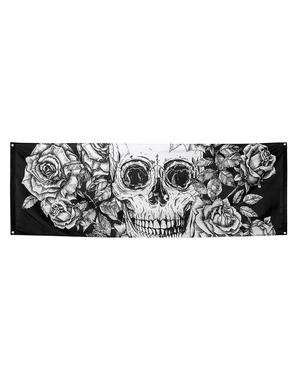 Знаме на скелет в бяло и черно с цветя