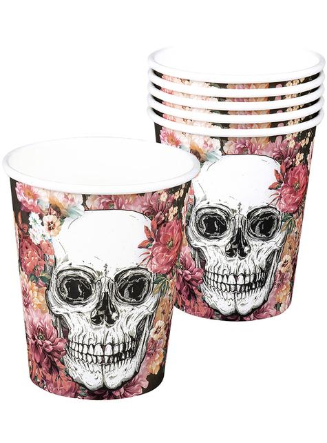 6 vasos de esqueleto con flores