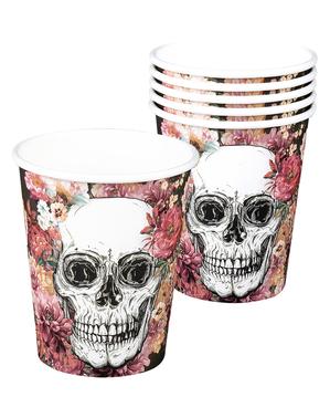 6 kopper med skjeletter og blomster
