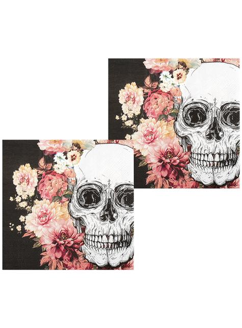 12 skeleton napkins with flowers (33x33 cm)