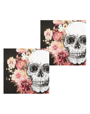12 guardanapos de esqueleto com flores (33x33 cm)