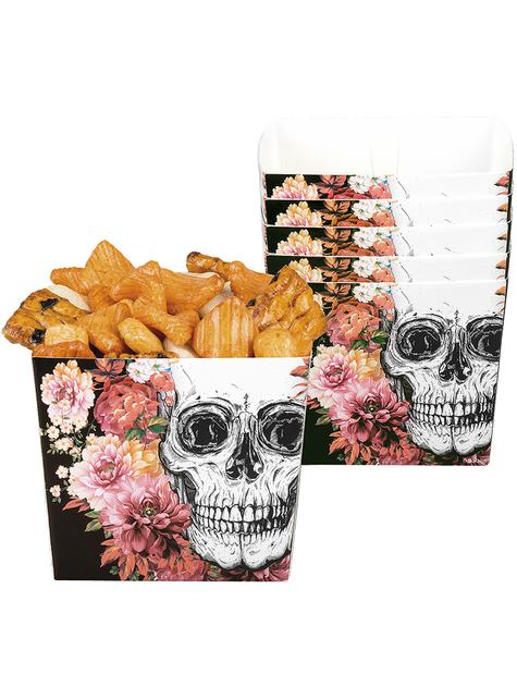 6 Skelett mit Blumen Schachteln für Snacks