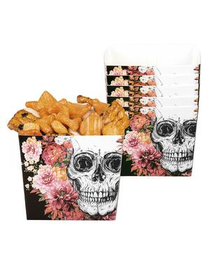 6 caixinhas de esqueleto com flores para aperitivo