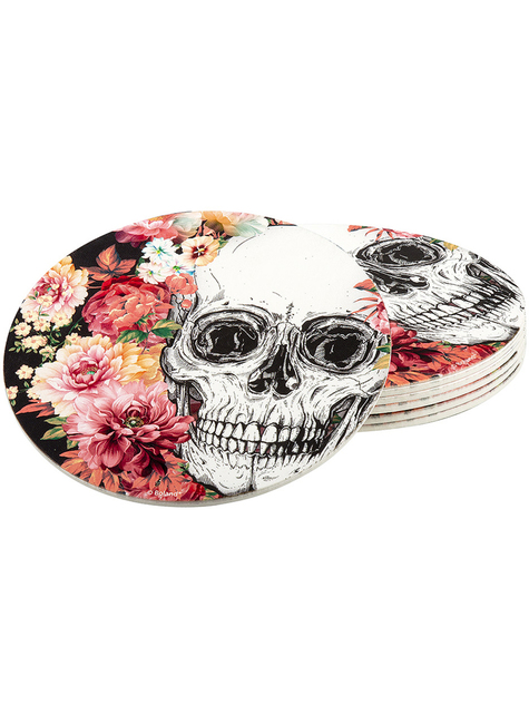 6 posavasos de esqueleto con flores (10 cm)