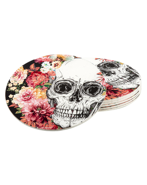 6 coasters with skeletons and flowers (10 cm)