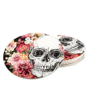 6 onderzetters met skeletten en bloemen (10 cm)
