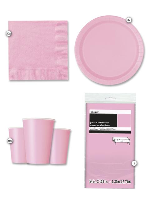 Kit de fiesta rosa 8 personas
