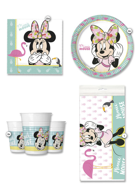 Kit cumpleaños Minnie Mouse Tropical 8 personas