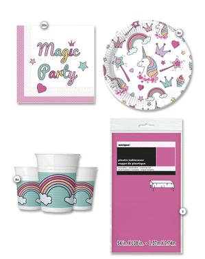 Kit decoration table anniversaire licorne Fête magique 8 personnes