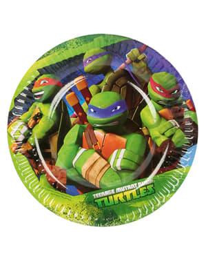 Conjunto de 8 pratos de sobremesa das Tartarugas Ninja