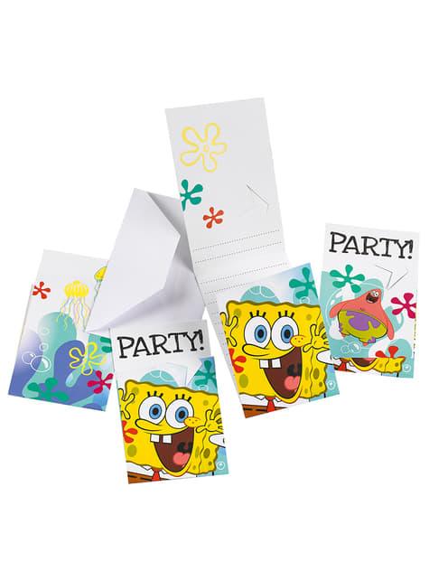 6 invitaciones de Bob Esponja