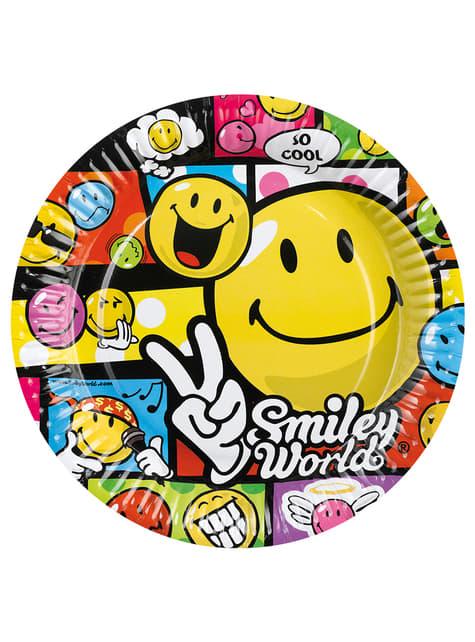 Set de 8 platos grandes de Smiley Comic