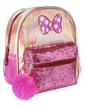 Mochila Minnie Mouse rosa com pompom para menina - Disney