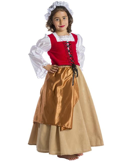 Keskiaikainen talonpoikaistyttö lasten asu