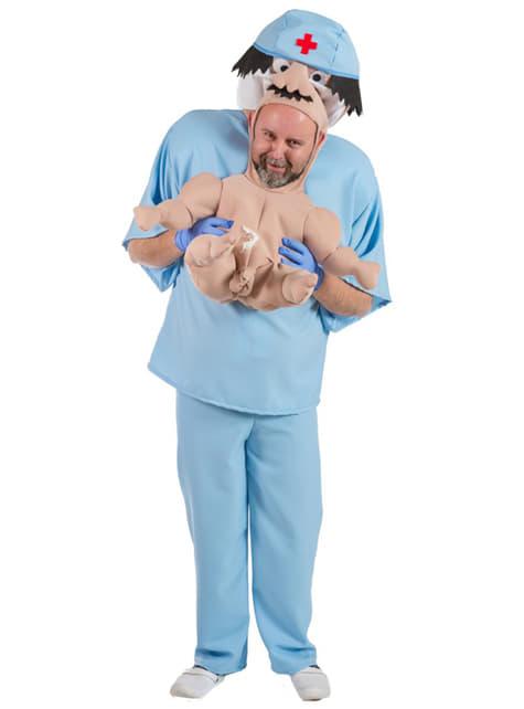 Disfraz de recién nacido en brazos para adulto