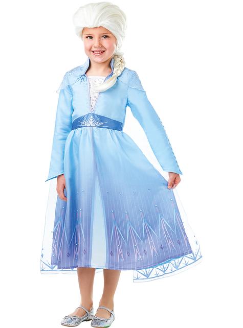 Disfraz de Elsa Frozen 2 con peluca para niña