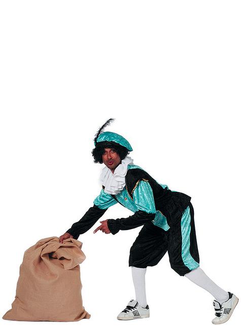 Disfraz de Pedro ayudante de San Nicolás turquesa para hombre