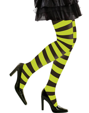Grønn og Svart Stripede Tights Dame