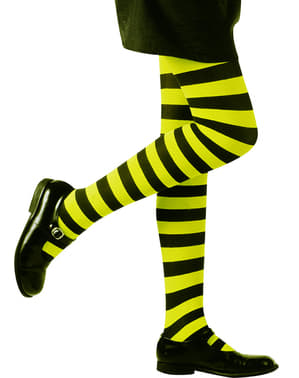 Girl's Green and Black Stripy Tights