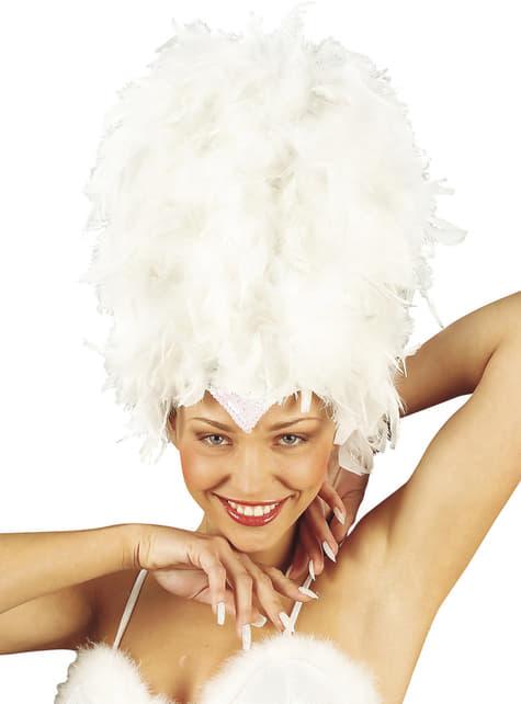 Tocado blanco con plumas y lentejuelas para mujer