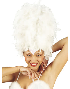 White Headdress with Feathers and Sequins