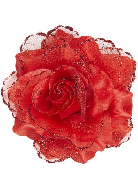 Czerwony kwiat do włosów