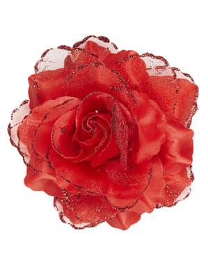 Fleur rouge cheveux