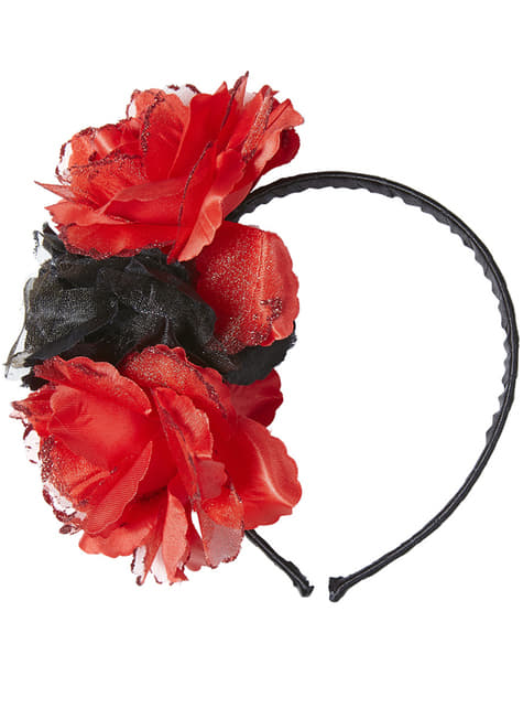 Adult's Headband with Black and Red Flowers