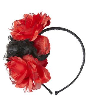 Hårbånd med Svarte og Røde Blomster til Voksne