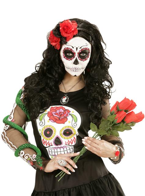 Diadema con flores rojas y negra para adulto - para tu disfraz