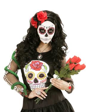 Diadem med blommor svarta och röda för vuxen