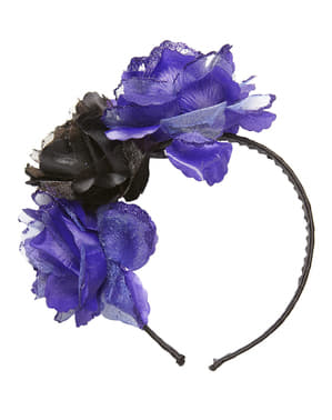 Adult's Headband with Black and Purple Flowers