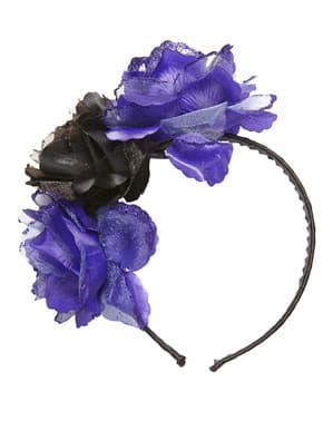 Diadem z fioletowymi i czarnymi kwiatami dla dorosłych