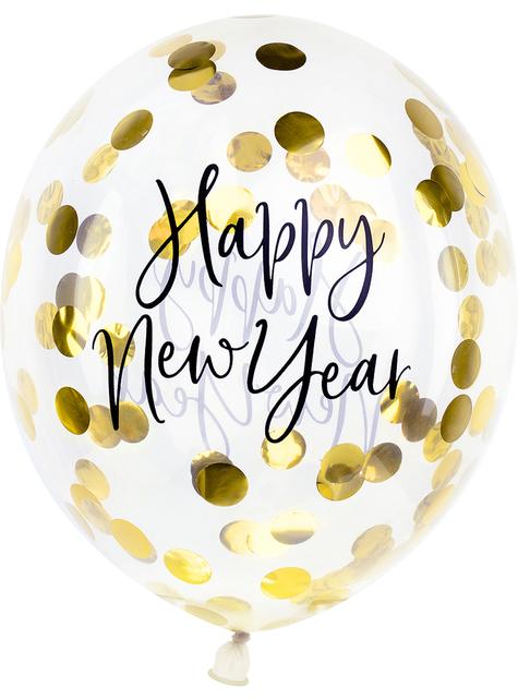 3 Globos con confeti Fin de Año Happy New Year (30 cm) - Jolly New Year